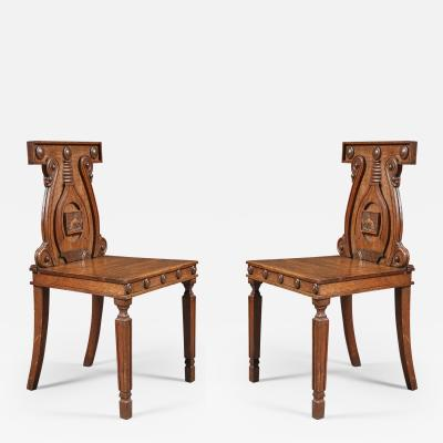 A Pair Regency Hall Chairs After A Design By Peter And Michael Angelo Nicholson