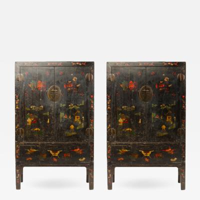 A Pair of 19th Century Chinese wardrobe chinoiserie lacquered Black