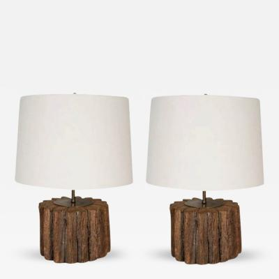 A Pair of 19th Century Oak Cog Form Lamps