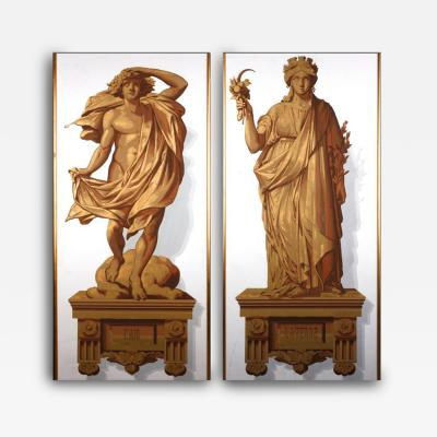 A Pair of Allegorical Papier Peint Panels French ca 1820