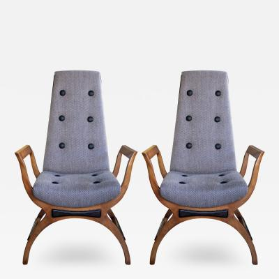 A Pair of American Lounge Chairs in the Manner of Adrian Pearsall