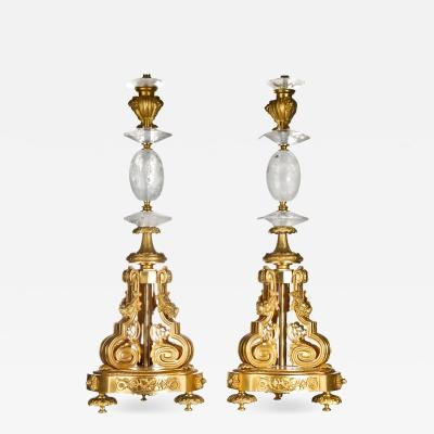 A Pair of Antique French Louis XVI Gilt Bronze and Rock Crystal Lamps