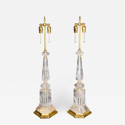 A Pair of Art Deco Style Gilt Mounted Rock Crystal Lamps