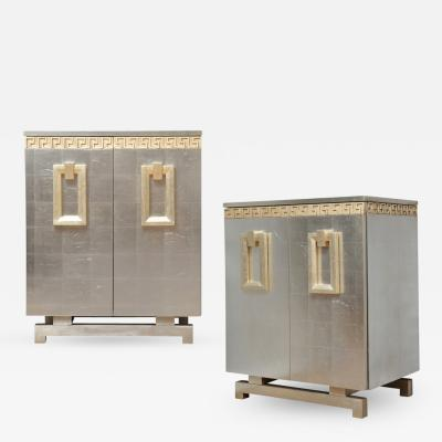 A Pair of Art Deco Two Door Silver Leafed Cabinets