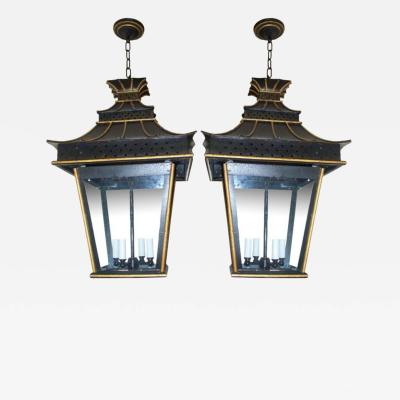 A Pair of Asian Inspired Tole Painted Lanterns