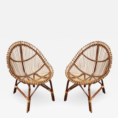 A Pair of Bamboo Armchairs Italy 1950