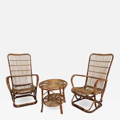 A Pair of Bamboo Armchairs with Occasional Table Italia 60