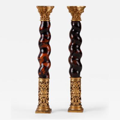 A Pair of Baroque Solomonic Colonnettes Flemish Circa 1700