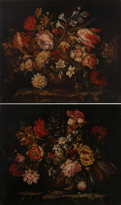 A Pair of Baroque Still Lifes Italian early 18th C