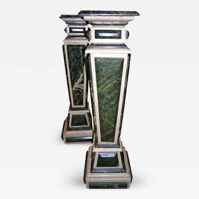 A Pair of Baroque Style Green and White Marble Pedestals
