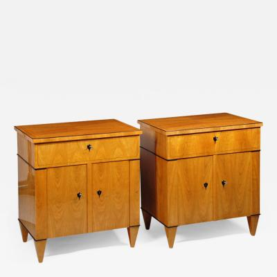 A Pair of Biedermeier Style Two Door Night Stands by Iliad Design
