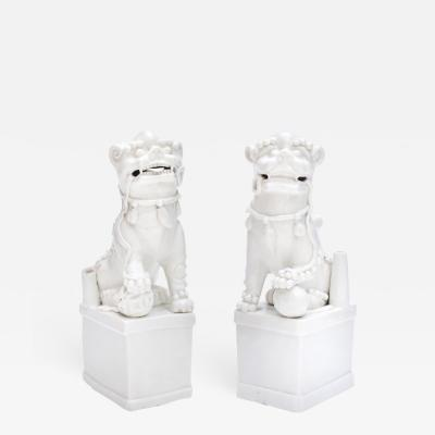 A Pair of Blanc de Chine Buddhist Lions Foo Dogs Early Kangxi 1662 1722