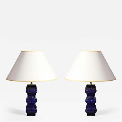 A Pair of Blue Owl Form Lamps