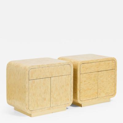 A Pair of Bone Veneered Side Cabinets 1970s