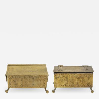 A Pair of Brass Dutch Style Table Top Cigarette or Tobacco Boxes English