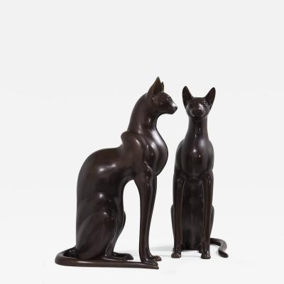 A Pair of Bronze Egyptian Style Cats Late 20th Century