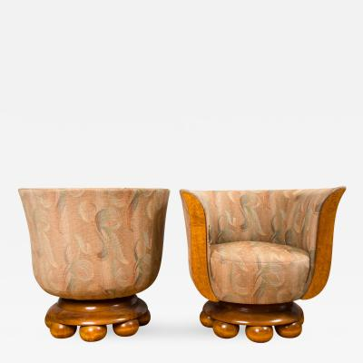 A Pair of Burl Wood Art Deco Club Chairs from Belgium