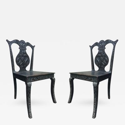 A Pair of Carved Chinioserie Side Chairs