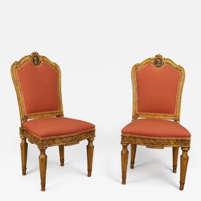 A Pair of Carved and Gilded Wood Roman Neoclassical Side Chairs