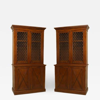 A Pair of Charles X Style Flame Mahogany Bookcases