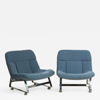 A Pair of Chenille Upholstered Lazy Chairs 1960s