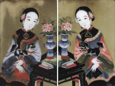 A Pair of Chinese Export Reverse Glass Paintings