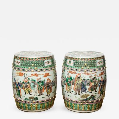 A Pair of Chinese Famille Verte Garden Stools