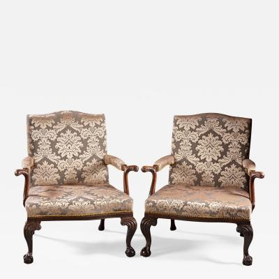 A Pair of Chippendale Gainsborough Chairs