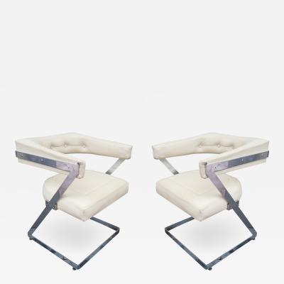 A Pair of Chromed and Leather Chairs Italy 1970