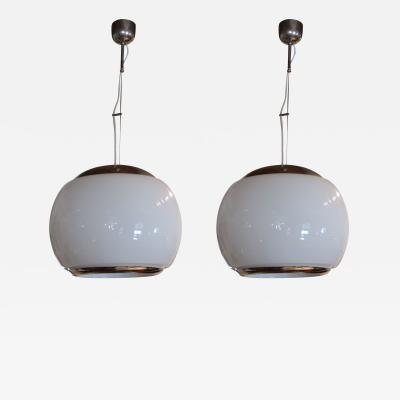 A Pair of Chromed and Opaline Ceiling Lamps Italy 70