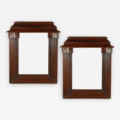 A Pair of Classical Style Cornice Top Reeded Art or Mirror Frames in Oak