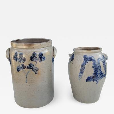 A Pair of Cobalt Decorated Stoneware Twin Handle Crocks