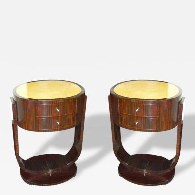 A Pair of Custom Art Deco Macassar Nightstands or End Tables