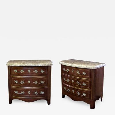 A Pair of Danish Empire Style Mahogany Bow Front Inalid Chests