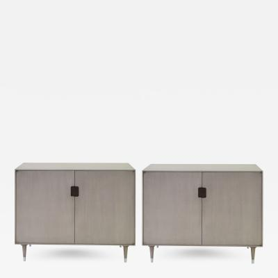 A Pair of Danish Gray Washed Birchwood 2 Door Console Cabinets
