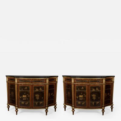 A Pair of Directoire Taste Cabinets Set With Chinese Black Lacquer Panels