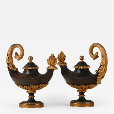 A Pair of Empire Cassolette Candle Holders French ca 1800