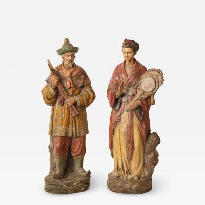 A Pair of English Regency Revival Polychrome Chinese Musicians