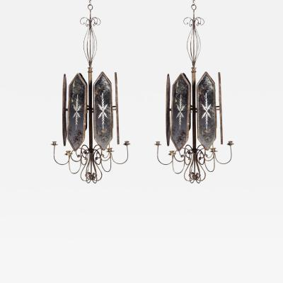 A Pair of Etched Mirror Panel Hanging Candlestick Lights that can be Electrified