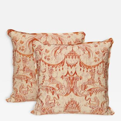 A Pair of Fortuny Fabric Cushions in the Mazzarino Pattern