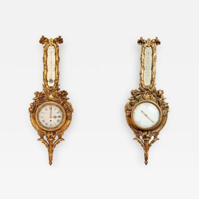 A Pair of French 19th Century Carved Wood Barometer and Clock