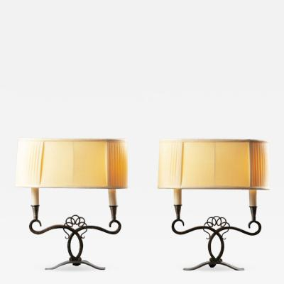 A Pair of French Art Deco Two Branch Table Lamps