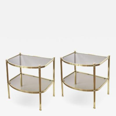 A Pair of French Brass and Smoked Glass Bow Front Side Tables