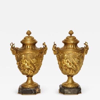 A Pair of French Gilt Bronze Cassolettes in the Manner of Clodion