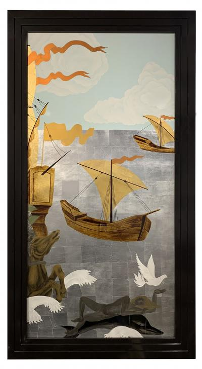 A Pair of French Gilt Painted and Lacquer Nautical Scene Panels