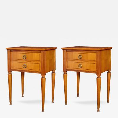 A Pair of French Mid Century Sycamore 2 Drawer Bedside Tables