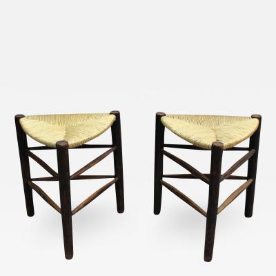 A Pair of French Mid Century triangular stools with rush seats