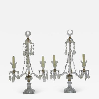 A Pair of George III Crystal Two Light Candelabra