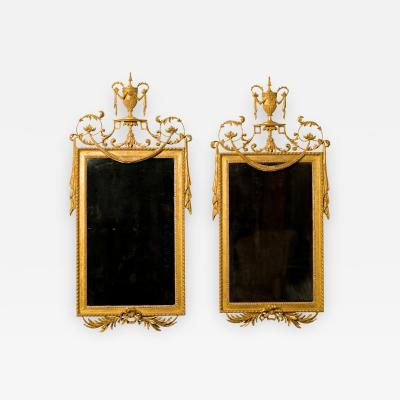A Pair of George III Giltwood Gilt Composition Pier Mirrors