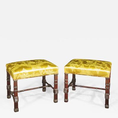 A Pair of George III Style Mahogany Stools